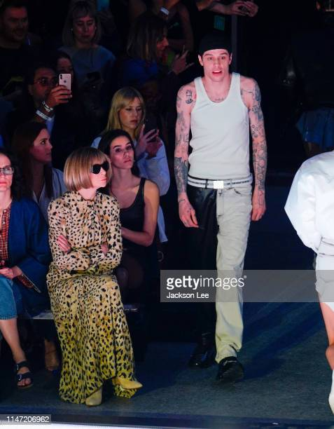 Pete Davidson walks the runway at Alexander Wang show as Anna Wintour looks on at Rockefeller Center Ice Rink on May 31 2019 in New York City