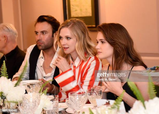 Pete Denton Portia Freeman and Sai Bennet attend a Fine Tailoring Dinner hosted by Charlie CaselyHayford and Topman at The Ned on June 1 2017 in...