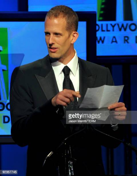 Pete Docter accepts the Animation Award onstage during the 13th annual Hollywood Awards Gala Ceremony held at The Beverly Hilton Hotel on October 26...