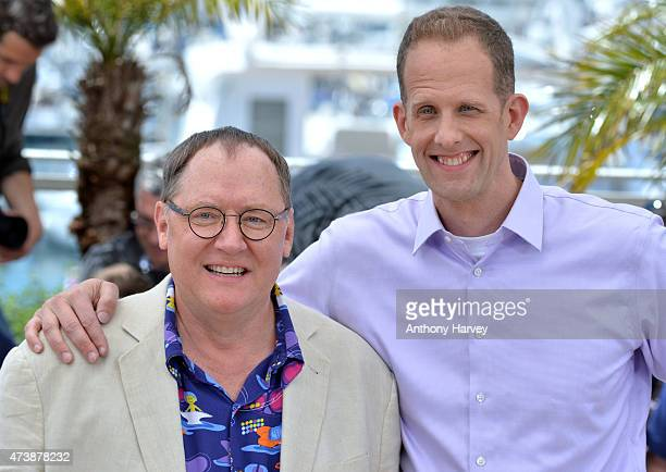 Pete Docter and John Lasseter attend the 'Inside Out' photocall during the 68th annual Cannes Film Festival on May 18 2015 in Cannes France