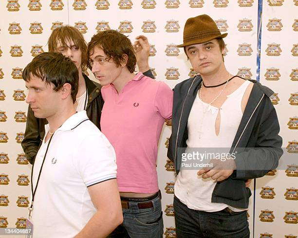 Pete Doherty and Babyshambles during 2005 Isle Of Wight Festival Day 2 Backstage at Seaclose Park in Newport Great Britain