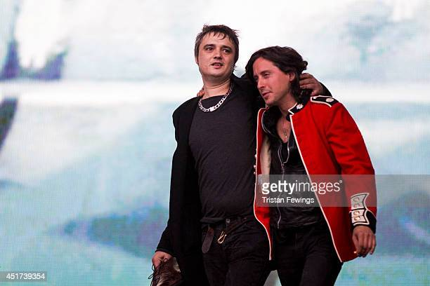 Pete Doherty and Caral Barat of The Libertines performs on stage at British Summer Time Festival at Hyde Park on July 5, 2014 in London, United...