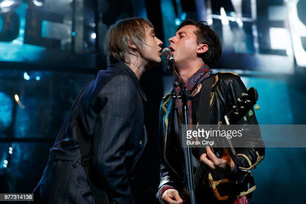 Pete Doherty and Carl Barat of The Libertines perform at Robert Smith's Meltdown festival at The Royal Festival Hall on June 17 2018 in London England