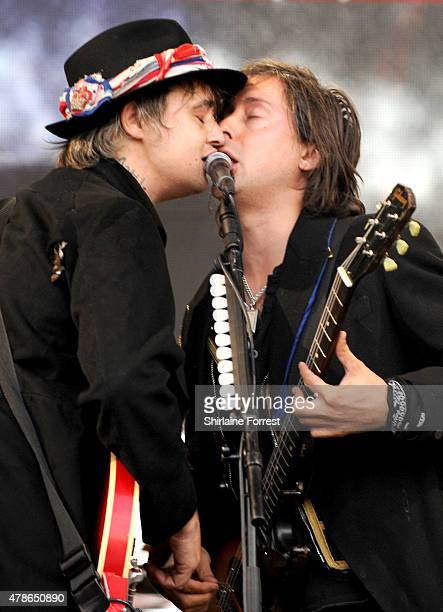 Pete Doherty and Carl Barat of The Libertines perform at the Glastonbury Festival at Worthy Farm Pilton on June 26 2015 in Glastonbury England