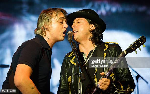 Pete Doherty and Carl Barat of The Libertines perform at The O2 Arena on January 30 2016 in London England