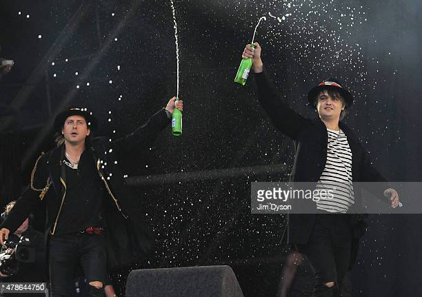 Pete Doherty and Carl Barat of The Libertines perform live on the Pyramid stage during the first day of the Glastonbury Festival at Worthy Farm,...
