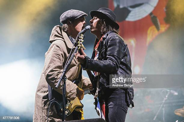 Pete Doherty and Carl Barat of The Libertines perform on the main stage for Best Kept Secret Festival at Beekse Bergen on June 19 2015 in...