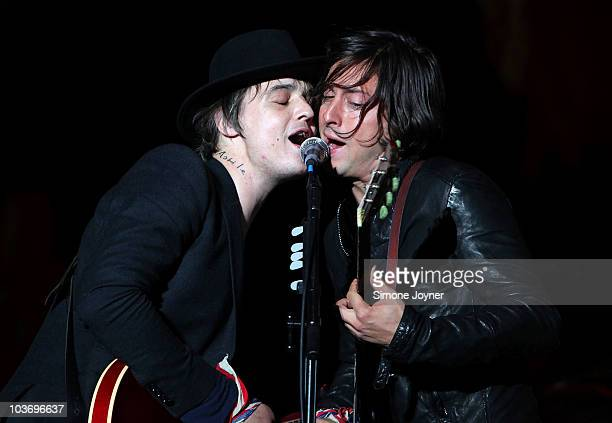 Pete Doherty and Carl Barat of The Libertines performs live on the Main stage during day Two of Reading Festival on August 28, 2010 in Reading,...