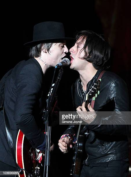 Pete Doherty and Carl Barat of The Libertines performs live on the Main stage during day Two of Reading Festival on August 28 2010 in Reading England