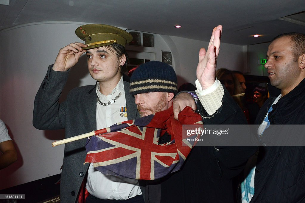 Pete Doherty and Franck Knight attend the 'Flags From The Old Regime' : Pete Doherty and Alize Meurisse Paintings Exhibition Preview At Espace Djam on November 21, 2013 in Paris, France.