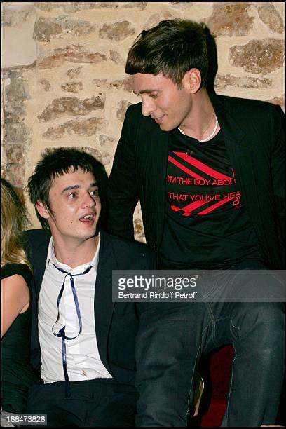 Pete Doherty and Hedi Slimane at Christian Dior Men's Fashion Show - Spring/Summer 2006 And Stylist Hedi Sliman's Birthday Celebration At The...