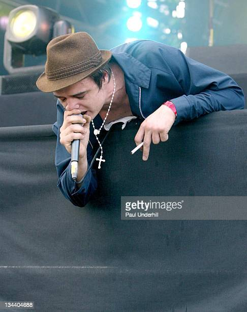 Pete Doherty during 2005 Isle of Wight Festival Day 2 Show at Seaclose Park in Newport Great Britain