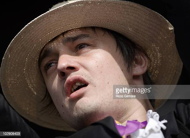 Pete Doherty of Babyshambles performs on the third day of T In The Park Festival at Balado on July 11, 2010 in Kinross, Scotland.