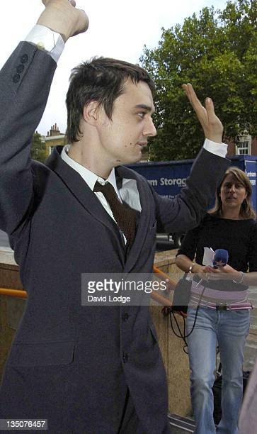 Pete Doherty of The Libertines attends his preliminary hearing on possession of an offensive weapon after missing the first hearing on August 10th.