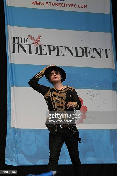 Pete Doherty performs at 'The Love Music Hate Racism Festival' at Britannia Stadium on May 30, 2009 in Stoke on Trent, England.