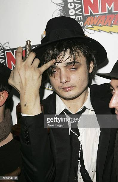 Pete Doherty poses in the Awards Room with the award for Sexiest Man at the Shockwaves NME Awards 2006 the weekly music magazine's annual awards at...