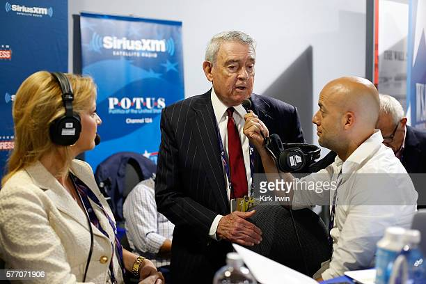 Pete Dominick host of Stand Up with Pete Dominick on SiriusXM talks Dan Rather and Christine Romans of CNN while hosting his show at Quicken Loans...