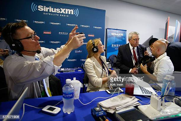 Pete Dominick host of Stand Up with Pete Dominick on SiriusXM talks with Dan Rather and Christine Romans of CNN while hosting his show as Matt Welch...