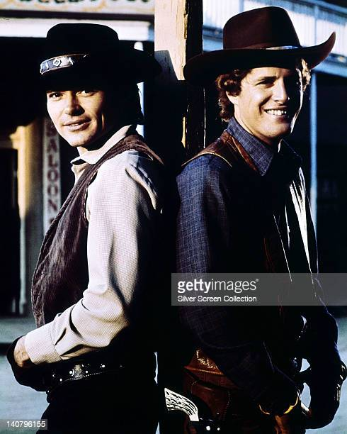 Pete Duel , US actor, and Ben Murphy, US actor, both in costume posing for a portrait issued as publicity for the US television series, 'Alias Smith...
