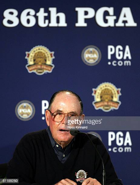 Pete Dye who designed the Whistling Straits Golf Course gives a press conference prior to the 2004 USPGA Championship on August 9 2004 at the...