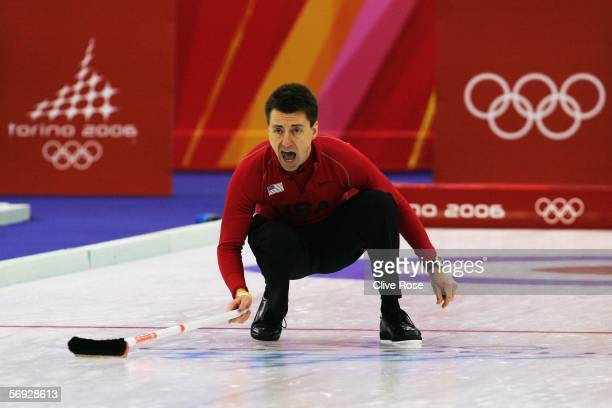 Pete Fenson of United States shouts instructions during the bronze medal match of the men's curling between United States and Great Britain during...