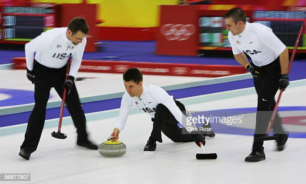 Pete Fenson of USA competes during the preliminary round of the men's curling between USA and Germany during Day 8 of the Turin 2006 Winter Olympic...
