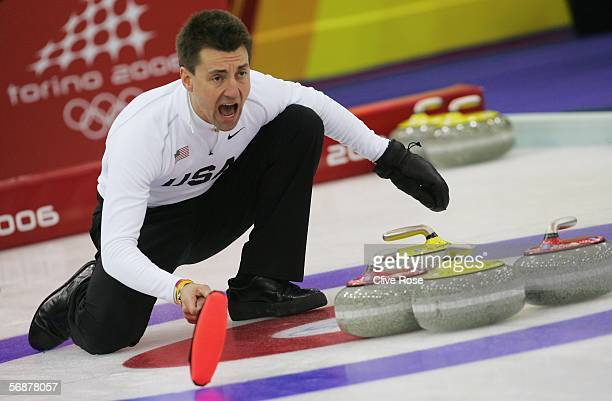 Pete Fenson of USA shouts instructions in the preliminary round of the men's curling between USA and Germany during Day 8 of the Turin 2006 Winter...