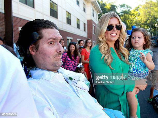 Pete Frates Julie Fates his wife and their daughter Lucy wait for students and others at Endicott College attempt to break the world record for...