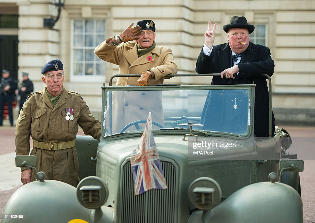 Pete Gaine, Mickey Barr and Stan Streather pose in a 1943 Humber Snipe, part of a display of 90 historic British-built motor vehicles in the forecourt of Buckingham Palace to commemorate The Queen's 90th birthday on October 15, 2016 in London, England.The event, organised by the All-Party Parliamentary Motor Group and the All-Party Parliamentary Historic Vehicles Group, includes 90 vehicles with one from each year since the year of Queen Elizabeth II's birth in 1926.