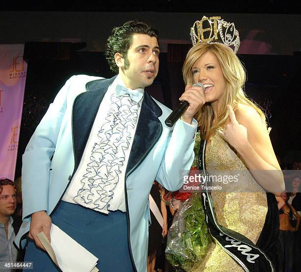 Pete Giovanni and Katie Rees during Former Miss Nevada Katie Rees' Crowned Miss JET Las Vegas At JET Nightclub at The Mirage Hotel and Casino Resort...