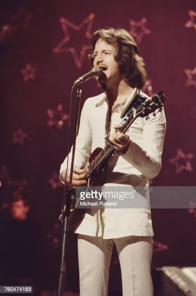 Pete Ham of British rock band Badfinger filming a performance of 'Day After Day' to be used as an insert for the 'Top Of The Pops' music show BBC...