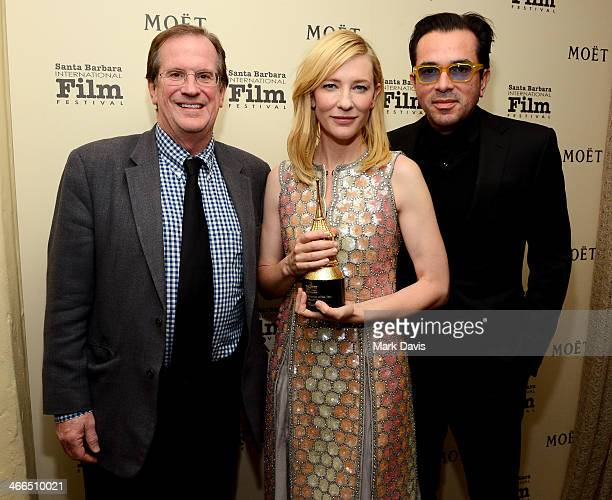 Pete Hammond actress Cate Blanchett and SBIFF director Roger Durling attend the 29th Santa Barbara International Film Festival outstanding performer...
