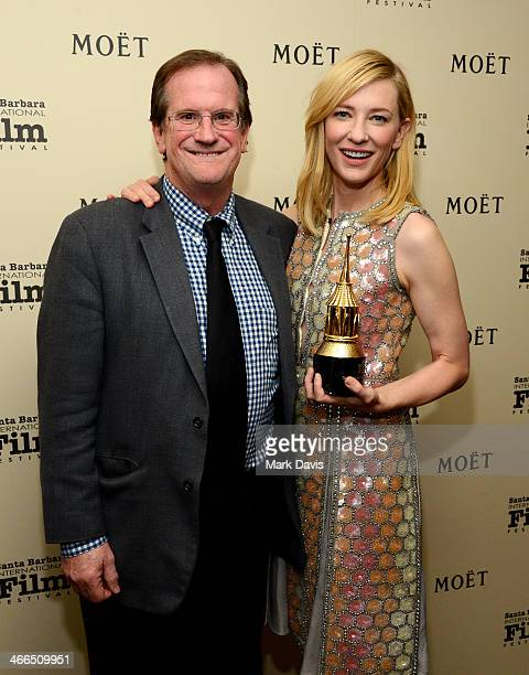 Pete Hammond and actress Cate Blanchett attend the 29th Santa Barbara International Film Festival outstanding performer of the year award on February...