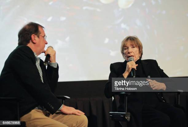 Pete Hammond and Shirley MacLaine attend The KCET Cinema Series Lumiere Award Ceremony and 'The Last Word' screening at ArcLight Sherman Oaks on...