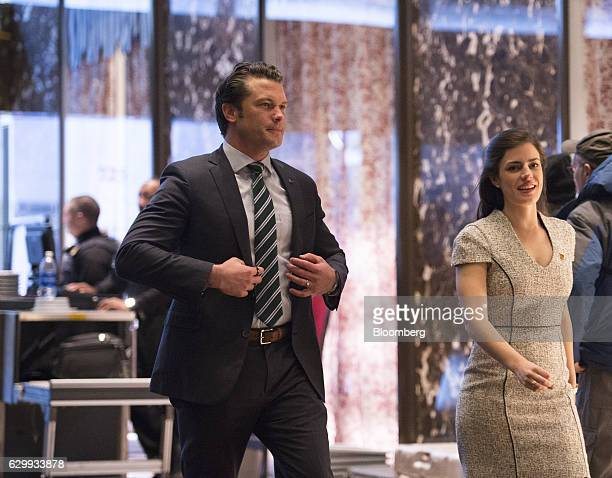 Pete Hegseth military analyst at TwentyFirst Century Fox Inc and a potential nominee for Veterans Affairs secretary arrives in the lobby of Trump...
