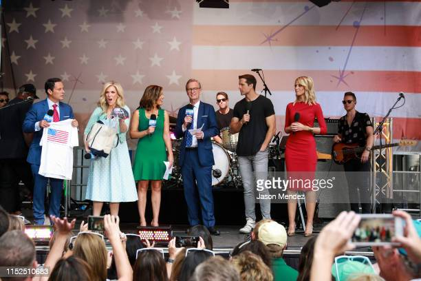 Pete Hegseth Steve Doocy Janice Dean Jillian Mele and Walker Hayes on FOX Friends AllAmerican Summer Concert Series on June 28 2019 in New York City