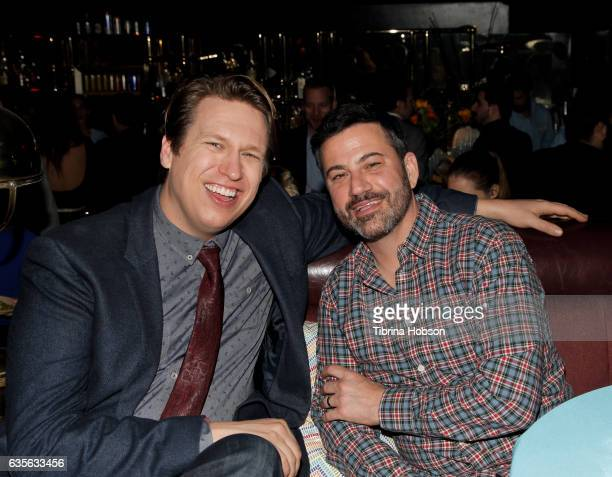 Pete Holmes and Jimmy Kimmel attend the premiere of HBO's 'Crashing' after party on February 15 2017 in Hollywood California
