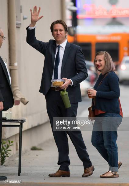 Pete Holmes and Valerie Chaney are seen at 'Jimmy Kimmel Live' on December 10 2018 in Los Angeles California
