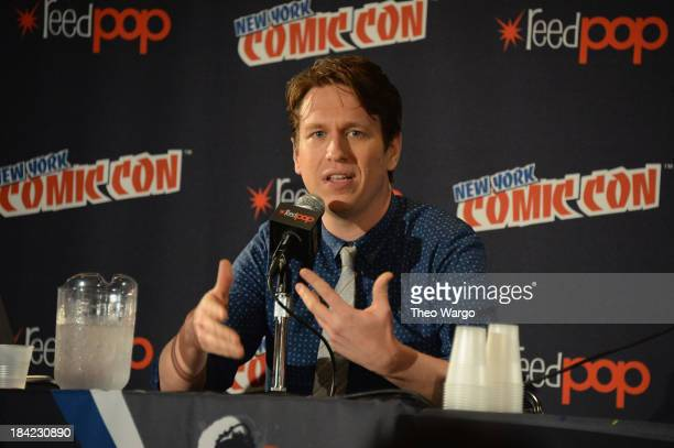 Pete Holmes speaks onstage at the Pete Holmes panel during New York Comic Con 2013 at the Javits Center on October 12 2013 in New York City...