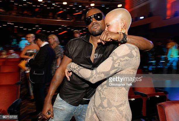 Pete Kanye West and Amber Rose pose at the 2009 MTV Video Music Awards at Radio City Music Hall on September 13 2009 in New York City