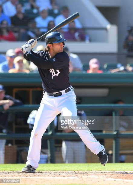 Pete Kozma of the Detroit Tigers bats during the Spring Training game against the New York Yankees at Publix Field at Joker Marchant Stadium on March...