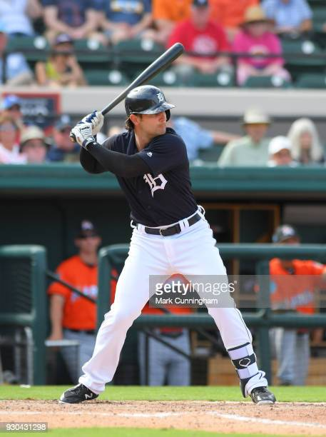 Pete Kozma of the Detroit Tigers bats during the Spring Training game against the Miami Marlins at Publix Field at Joker Marchant Stadium on March 2...