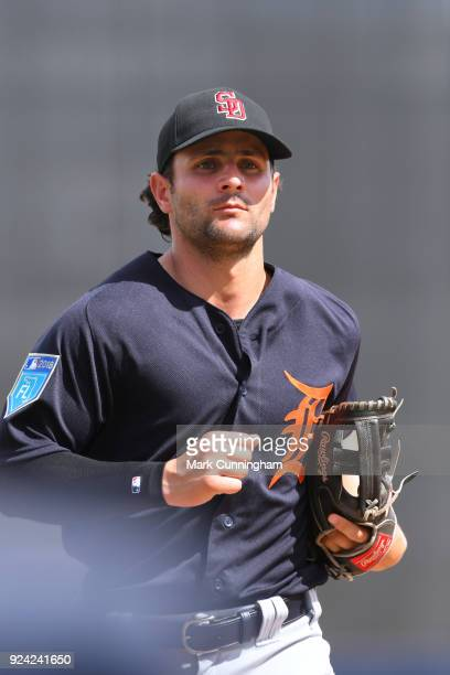 Pete Kozma of the Detroit Tigers looks on during the Spring Training game against the New York Yankees at George M Steinbrenner Field on February 23...