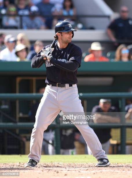 Pete Kozma of the New York Yankees bats during the Spring Training game against the Detroit Tigers at Publix Field at Joker Marchant Stadium on March...