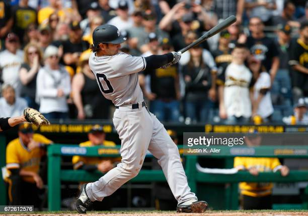 Pete Kozma of the New York Yankees in action against the Pittsburgh Pirates at PNC Park on April 23 2017 in Pittsburgh Pennsylvania