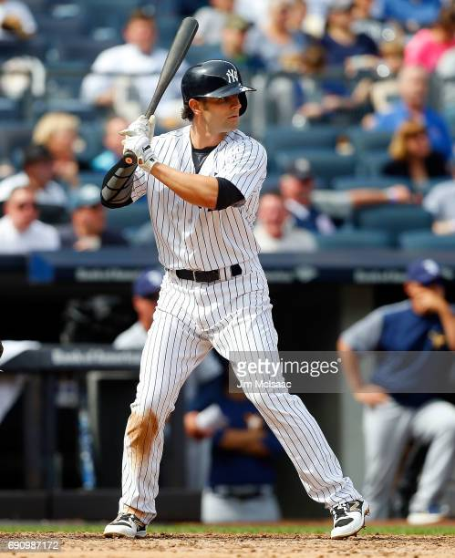 Pete Kozma of the New York Yankees in action against the Tampa Bay Rays at Yankee Stadium on April 12 2017 in the Bronx borough of New York City The...