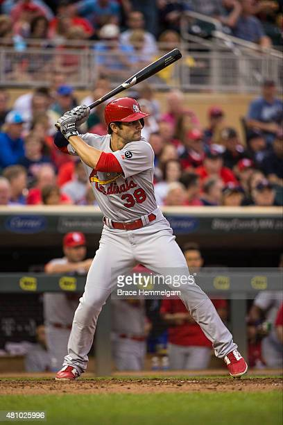 Pete Kozma of the St Louis Cardinals bats against the Minnesota Twins on June 17 2015 at Target Field in Minneapolis Minnesota The Twins defeated the...