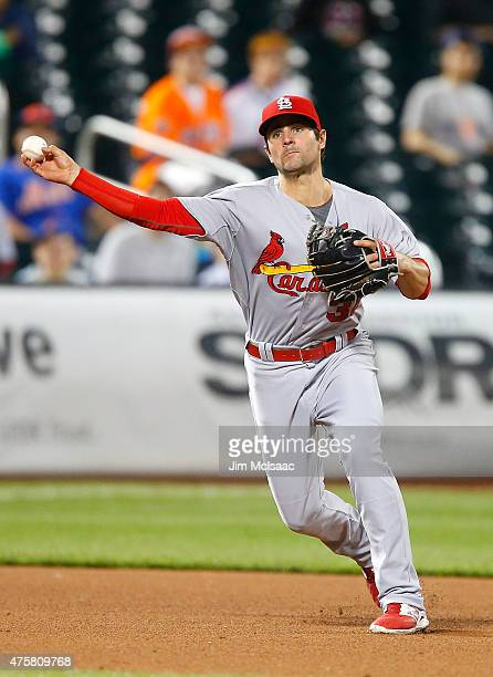 Pete Kozma of the St Louis Cardinals in action against the New York Mets at Citi Field on May 19 2015 in the Flushing neighborhood of the Queens...