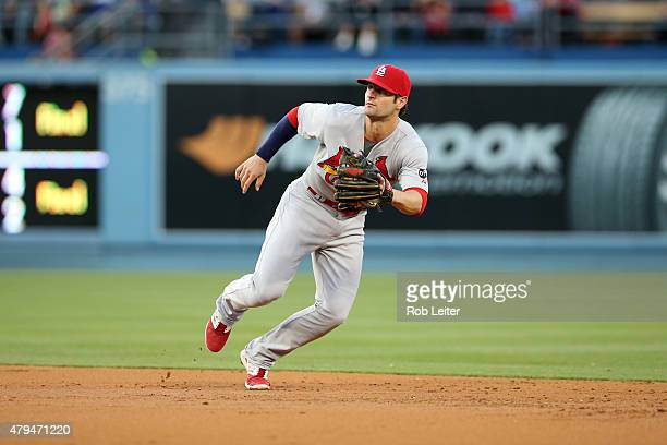 Pete Kozma of the St Louis Cardinals plays second base during the game against the Los Angeles Dodgers at Dodger Stadium on June 6 2015 in Los...