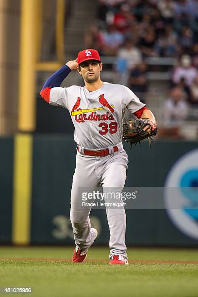 Pete Kozma of the St Louis Cardinals throws against the Minnesota Twins on June 17 2015 at Target Field in Minneapolis Minnesota The Twins defeated...